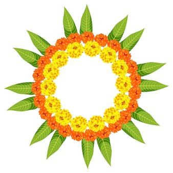 Kwiatowe rangoli wykonane z kwiatów nagietka lub zendu lub genda i liści mango