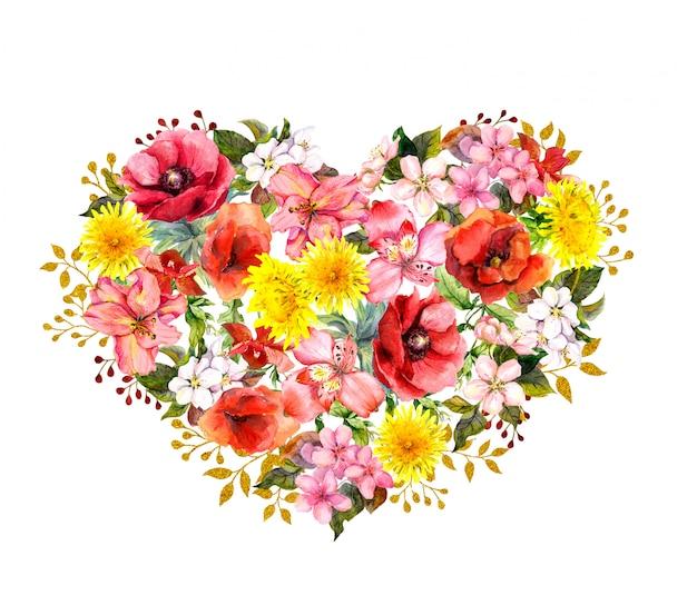 Kwiatowe serce z czerwonymi makami, różowymi kwiatami, złotymi liśćmi. akwarela na walentynki, zapisz datę karty