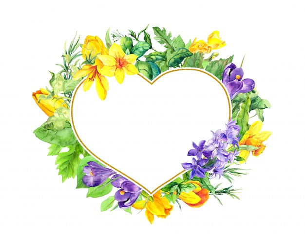 Kwiatowy kształt serca - wiosenne kwiaty, krokusy, tulipany, narcyz, hiacynt. akwarela wieniec ramki na walentynki