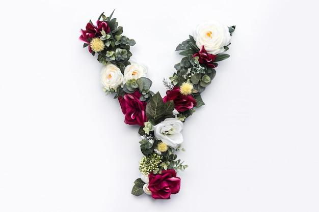 Kwiatowy monogram kwiatowy list y.
