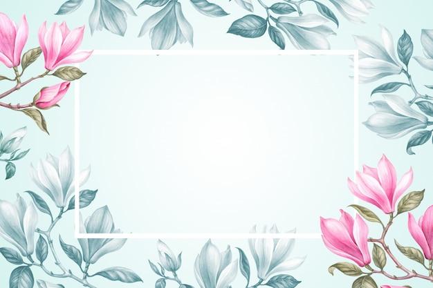 Kwiatowy rama tło z bukietem magnolii