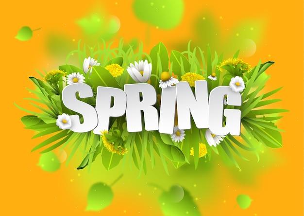 Kwiatowy wiosna typografii tło z mniszka lekarskiego i rumianków