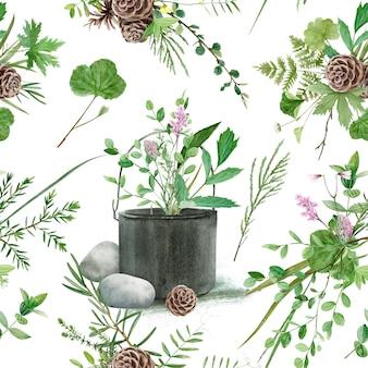 Kwiatowy wzór z akwarela leśne rośliny i kwiaty