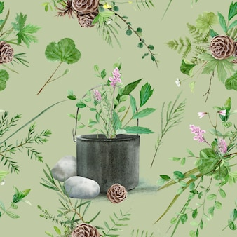 Kwiatowy wzór z akwarela leśnych roślin i kwiatów, artystyczny obraz naturalnego tła.