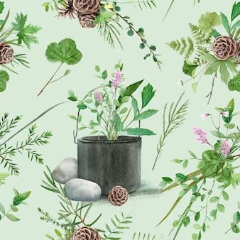 Kwiatowy wzór z akwarelowymi roślinami leśnymi i kwiatami, artystyczne malarstwo naturalne tło
