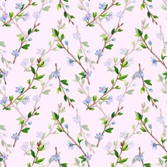 Kwiatowy wzór z gałęzi wiosną z kwiatami. jabłoń lub wiśnia. ręcznie rysowane akwarela ilustracja na różowo.