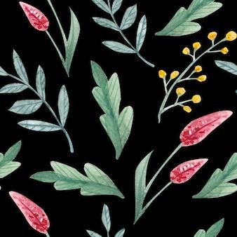 Kwiatowy wzór z handdrawn dzikich kwiatów i ziół powtarzający się rysunek