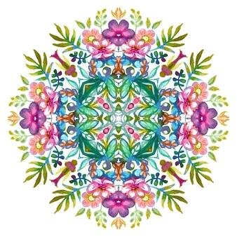 Kwiatowy wzór z kolorowymi wiosenno-letnimi kwiatami i zielonymi liśćmi.