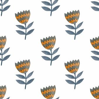 Kwiaty akwarela bezszwowe wzór w stylu skandynawskim