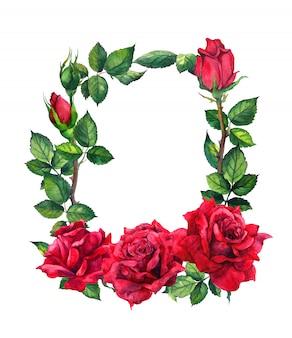 Kwiaty czerwonych róż - granica kwiatowy. akwarela ramki