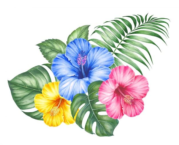 Kwiaty hibiskusa i liście palmy.