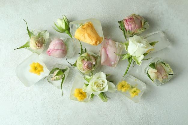 Kwiaty i kostki lodu na białym tle z teksturą