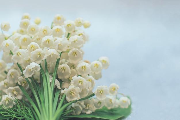 Kwiaty konwalii z bliska z selektywnym naciskiem na jasnoszarym tle piękno the
