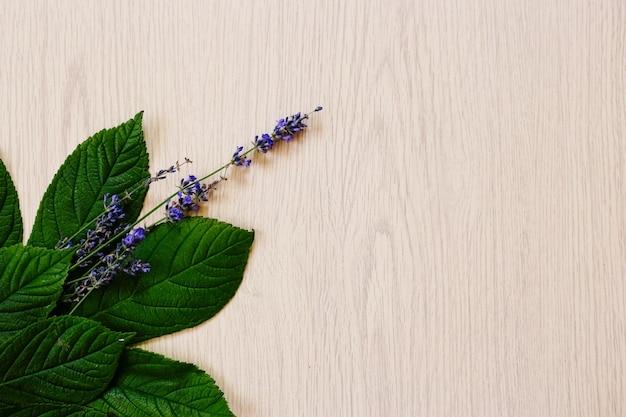 Kwiaty lawendy na podłoże drewniane