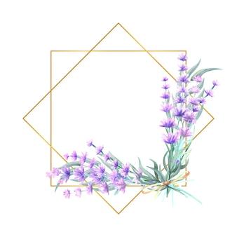 Kwiaty lawendy w wielokątnej złotej ramie