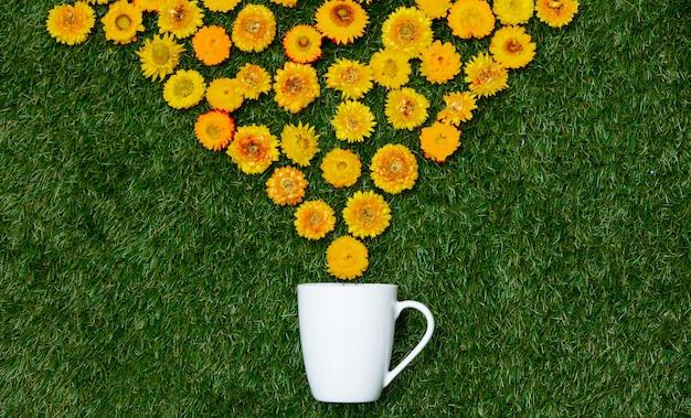 Kwiaty mniszka lekarskiego i filiżankę kawy na zielonej trawie.