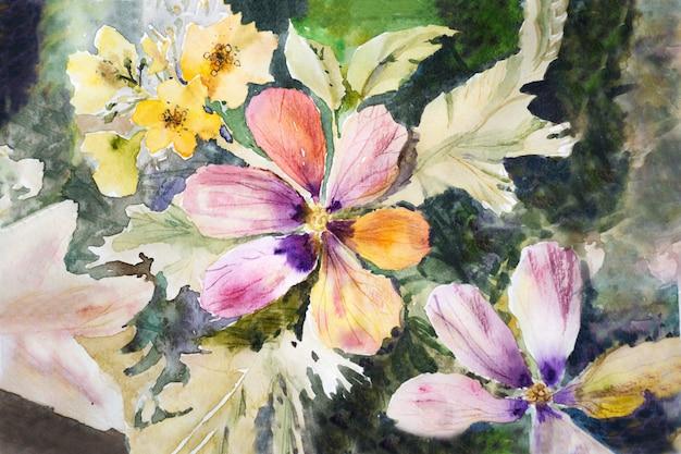 Kwiaty na ciemnym tle pomalowane akwarelą