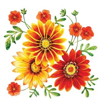 Kwiaty ozdobne w kolorze żółto-czerwonym, pomarańczowym w bukiecie.