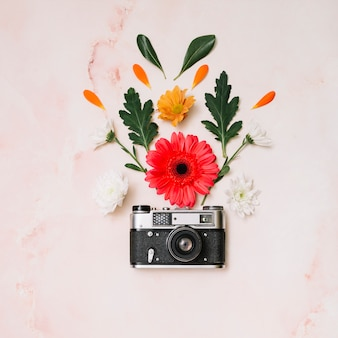 Kwiaty pąki z kamerą na stole