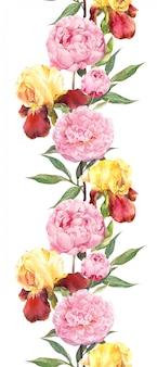 Kwiaty piwonii i irysa. bezszwowe obramowanie. akwarela