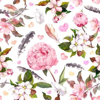 Kwiaty piwonii, sakura, pióra. vintage kwiatowy wzór. akwarela
