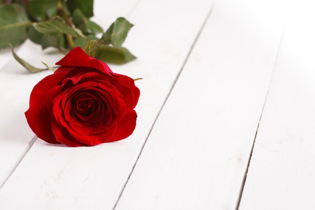 Kwiaty róży na drewnianym stole