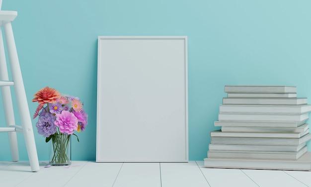 Kwiaty są umieszczane w wazonie, umieszczone na białym drewnianym krześle z dużą białą ramą umieszczoną w niebieskim salonie. renderowanie 3d.