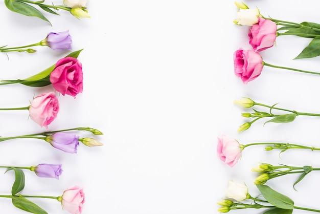 Kwiaty tworzące pionową ramkę