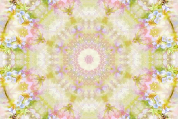 Kwiaty w akwarela niewyraźne, tło wzór kwiatowy wiosna, ilustracja powtarzania symetrii wiosennych kwiatów, jasne tło kwiatowy