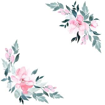 Kwiaty w akwarela ramki, na białym tle.