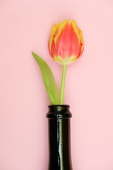Kwiaty w butelce na delikatnym różowym tle. koncepcja rocznicy