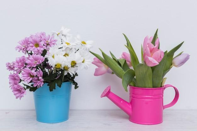 Kwiaty w koszyku i doniczce