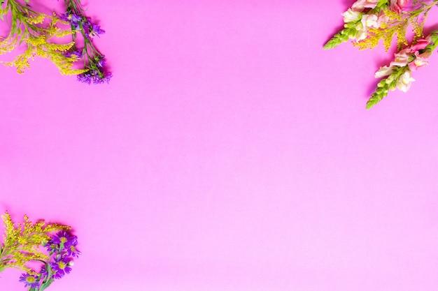 Kwiaty w różowym tle