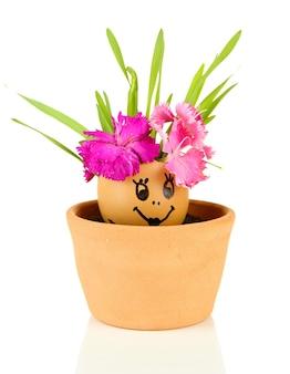 Kwiaty wyrastające ze skorupki jajka z pomalowaną twarzą, na jasnym
