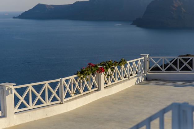 Kwiaty zwisające z ogrodzenia na tle morza. wykonano w miejscowości oia, santorini