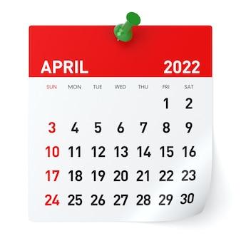 Kwiecień 2022 - kalendarz. na białym tle. ilustracja 3d