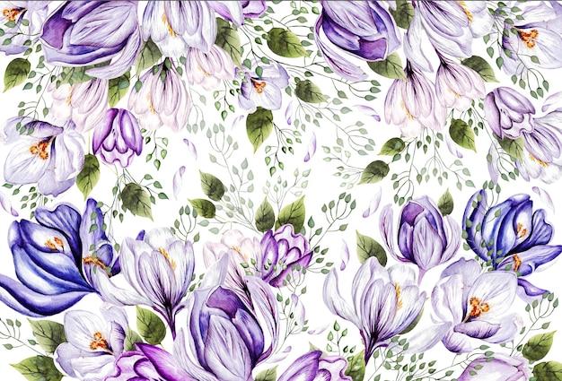 Kwiecista kartka okolicznościowa z kwitnącymi krokusami i liśćmi ogrodowymi