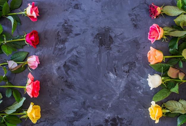Kwiecista rama z kolorowymi różami na popielatym, czarnym tle /, mieszkanie nieatutowy, odgórny widok