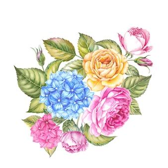Kwitnąca róża kwiatu akwareli ilustracja. śliczne różowe róże w stylu vintage dla projektu. ręcznie robiona kompozycja wianek. akwarela ilustracja botaniczna.