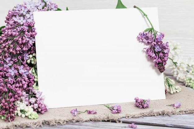 Kwitnące kwiaty bzu i puste miejsce na gratulacje