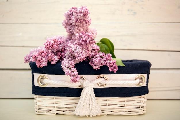 Kwitnący syringa liliowy krzak w białym koszu z rocznika drewnem