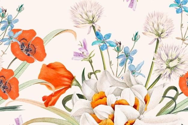 Kwitnący wiosenny kwiatowy wzór tła, zremiksowany z dzieł z domeny publicznej