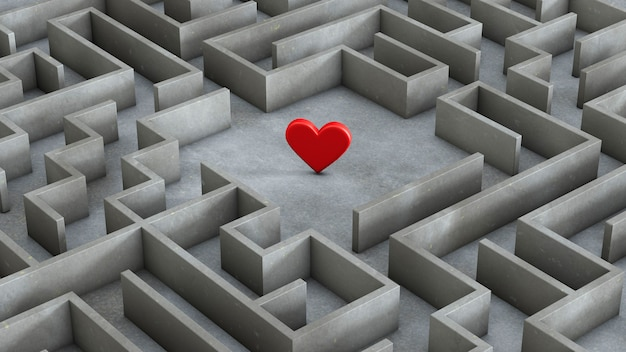 Labirynt i czerwone serce w środku. koncepcja wyszukiwania miłości. renderowania 3d.