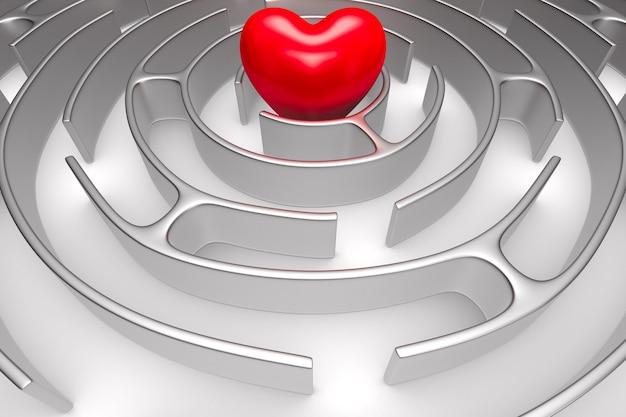 Labirynt koło i serce na białej przestrzeni