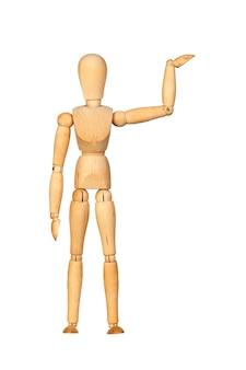 Łączący drewniany mannequin odizolowywający na białym tle