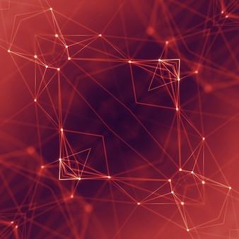 Łączenie kropek i linii. siatka danych geometrycznych technologii informacyjnej