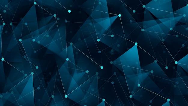 Łączenie kropek i linii. siatka danych technologii informacyjnej