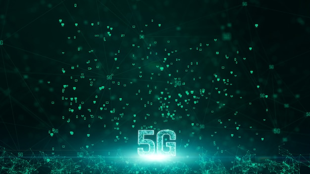 Łączność danych cyfrowych 5g i konceptualna futurystyczna technologia informacyjna wykorzystująca sztuczną inteligencję ai