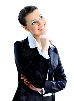 Ładna bizneswoman odzwierciedlała dobre nowe pomysły. pojedynczo na białym tle.