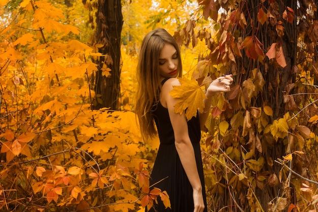 Ładna dziewczyna w czarnej sukni z makijażu pozowanie w złotej jesieni na zewnątrz lasu